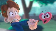 """""""In a Heartbeat"""" by Beth David and Esteban Bravo is a charming animation about a shy young man named Sherwing who was perched in a tree and sneaking a Looney Tunes, Apps, The Heart Of Man, Boy Meets, Animation Film, Computer Animation, Having A Crush, Film Director, In A Heartbeat"""