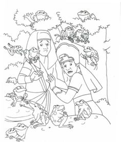 Coloring: Bible: OT: Exodus–Deuteronomy - Coloring Home Pages Frog Coloring Pages, Bible Coloring Pages, Coloring Sheets, Moses Plagues, 10 Plagues, Sunday School Coloring Pages, Bible Pictures, Bible Crafts, Kids Crafts