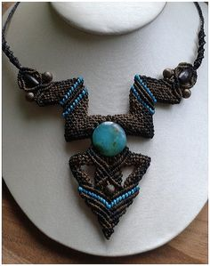 Brown and turquoise Macrame necklace. by IncapathDesigns on Etsy, £27.00