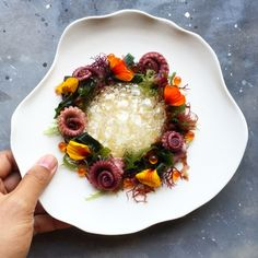 Octopus, Seaweeds, Ikura, Wasabi Emulsion and Shoyu Bubbles. Chef Nick