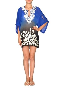 Natalya from KAS New York $169 The Natalyal is a 100% silk short blue to black ombre kaftan with a hand embroidered neckline and bottom. Perfect for the summer on a swimsuit.