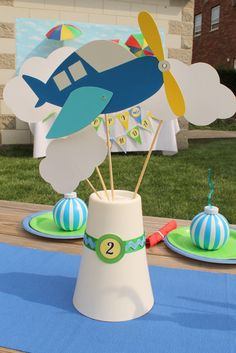 Cute Airplane and clouds centerpiece!