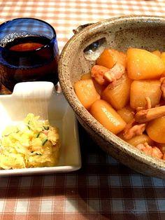 またまた、3人での食事 - 3件のもぐもぐ - 大根の煮物*ポテトサラダ by imotomochi