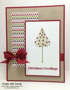 Stampin' Up Products Used: Stamp Sets: Warmth & Wonder Card Stock: Whisper White, Crumb Cake, Cherry Cobbler Designer Series Paper: Season of Style Ink Pads: Versamark, Old Olive, Crumb Cake Tools: Heat Tool Accessories: Cherry Cobbler Embossing Powder, Cherry Cobbler Seam Binding