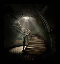beautiful stairs and lighting in a neglected venue