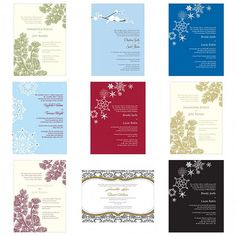 Evergreen, snowflakes and love birds adorn these winter wedding invitations.