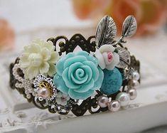 flower filigree vintage bronze crystal bracelet cottage shabby flower teal blue white jewellery accessory wedding floral