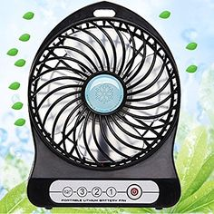 Mini USB Rechargeable Portable Handheld Cooling Table Desk Fan Black: Amazon.co.uk: Kitchen & Home