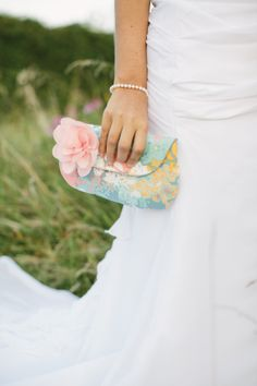 floral bridal clutch, pink & blue
