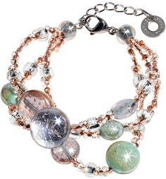 Antica Murrina Redentore 1 - Pink and Green Murano Glass Drops & Silver Leaf Bracelet