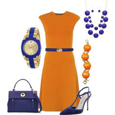Orange and Blue Outfit by hread on Polyvore