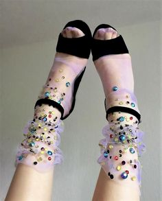 Fishnet Tights and Tulle Socks by Lirika Matoshi. Socks And Heels, Ankle Socks, Sheer Socks, Black Socks, Look Fashion, Fashion Design, Fashion Trends, Luxury Fashion, Net Fashion