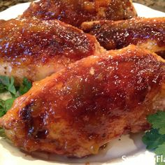Bourbon Peach Glazed Chicken Breasts @keyingredient #chicken #easy