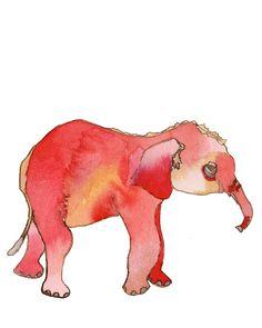Children's Elephant baby art print. $15.00, via Etsy.