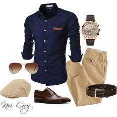Pantalón beige camisa azul marino .. zapatos , correa y lentes marrones