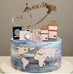 14th Birthday Cakes, Candy Birthday Cakes, Elegant Birthday Cakes, Birthday Cakes For Teens, Beautiful Birthday Cakes, Travel Cake, Pretty Cakes, Cute Cakes, Crazy Cakes