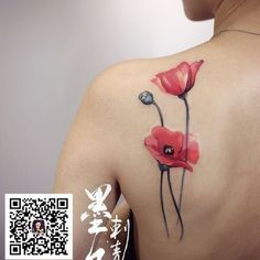 Impressive Poppy Flowers Tattoo On Left Back Shoulder