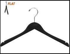 "CHW-50B  17\"" Black Wooden Flat Clothing Hangers"