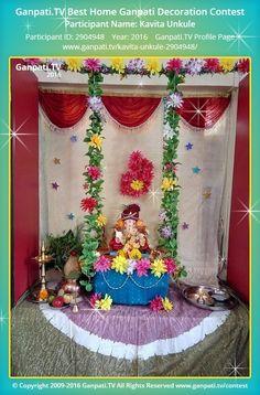 Kavita Unkule Home Ganpati Picture View more pictures and videos of Ganpati Decoration at www. Ganpati Decoration Theme, Ganapati Decoration, Festival Decorations, Flower Decorations, Diy Wedding Arbor, Ganpati Picture, Ganesh Chaturthi Decoration, Ganpati Festival, Rakhi Design