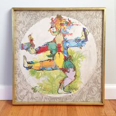 Whimiscal, colorful lithograph designed by Bjorn Wiinblad featuring what appears to be Papgeno from The Magic Flute. Offset lithography printed by Permild and Rosengreen, likely in the 1970s. Signed in the print with Bjorn Wiinblad and Papageno, and also marked with name and printing company at bottom. Print is framed in wood frame edged with gold paint with glass in front. In good vintage condition, with no damage to print. Some light wear to frame and glass. We have not removed print from…