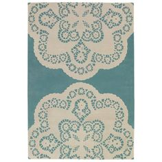 thomas paul doily aqua-cream wool rug- i want you i need you oh baby oh baby