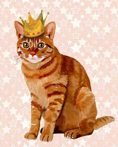 ginger cat wearing a crown ginger cat poster cat wall decor cat illustration cat picture cat gift cat lover ginger cat print cat art