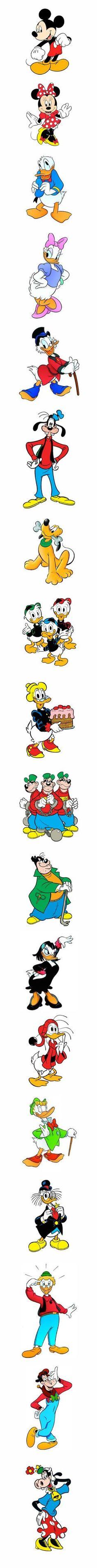 Walt Disney: Topolino, Paperino, Paperina, Topolina, Qui Quo Qua, Paperoga, Zio Paperone, Banda Bassotti, Archimede, Pluto, Pippo, ecc. (Mickey Mouse, Minnie, Goofy, Pluto, Donald Duck, Uncle Scrooge, Daisy Duck & Co.):