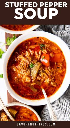 My Stuffed Pepper Soup has everything you love about stuffed peppers – bell peppers, ground beef, tomatoes, rice – in a hearty bowl of soup! Whip up this cozy soup for your family on a cold day. Everything cooks in one single pot (even the rice!), so this is a truly easy comfort food meal. Made with ground beef, green and red peppers, tomato sauce, rice and more. | #soupseason #soupson #souprecipe #easydinner #easyrecipes #dinnerrecipe #soup #groundbeef Stuffed Pepper Soup, Stuffed Green Peppers, Red Peppers, Green Pepper Soup, Soup Recipes, Dinner Recipes, Vegan Comfort Food, Bowl Of Soup, Ground Beef Recipes