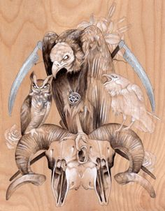 Occult animal portraits by Cory Benhatzel