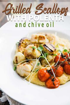Alaska Grilled Sea Scallops Recipe - These delicious large scallops are grilled to perfection and served up over creamy polenta alongside charred tomatoes. Best Seafood Recipes, Healthiest Seafood, Barbecue Recipes, Grilling Recipes, Fish Recipes, Healthy Dinner Recipes, Cooking Recipes, Bbq, Delicious Recipes