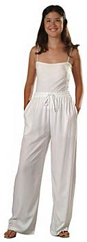 Rayon Elastic Waist Drawstring Pants for to be Dyed