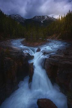 Merging Waters - Sunwapta Falls, by Javier de la Torre... #canada #clouds…