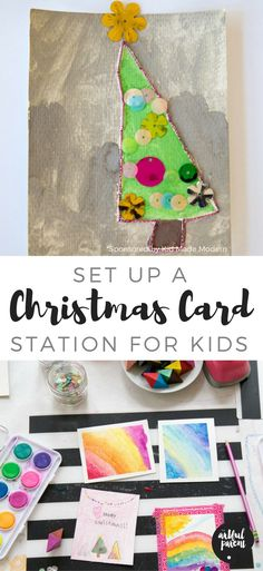 Set up a Christmas card making station for kids to make their own homemade Christmas cards using fun arts and crafts supplies. A great tradition to start!