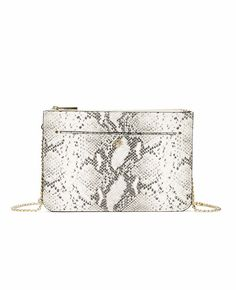 """New from Ann Taylor - Must have today.... Expertly crafted with an exotic embossed finish, this structured bag flaunts clean lines, luxe texture and a braided goldtone chain strap that makes it a can't-live-without piece for the season. Double zip-top closure. Front exterior pocket. 42"""" removable strap. Fabric lined interior. 11""""W x 8""""H x 1""""D."""