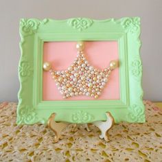 Shabby chic princess crown wall art.Mosaic. Mint green ornate frame.Vintage pearls.Girls nusery decor.Pink and green.Paris apartment.