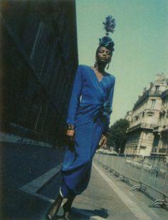 Yves Saint Laurent 1984 Photographer: Helmut Newton Model: Rebecca Ayoko