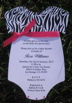 Zebra Print Top with Hot Pink Bow Onesie Baby Shower Invitations -- Keepsake Imprints Online Store