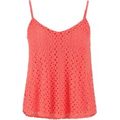 maurices Crochet Swing Tank (420 INR) ❤ liked on Polyvore featuring tops, tank tops, shirts, tanks, blouses, fruit punch, red shirt, red lace shirt, red lace tank and crochet shirt