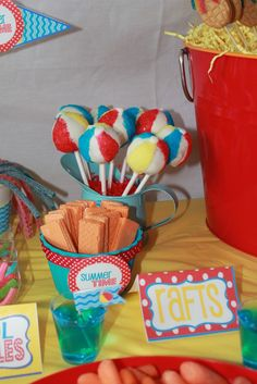 Splish Splash Bash | CatchMyParty.com Has some pretty neat idea for snacks and party favors for pool parties! We do have rental space and time available for your winter birthdays!
