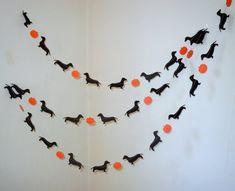 Halloweenie Garland with Dachshunds and Pumpkins on Etsy, $10.00. Ha ha ha ha I love this!