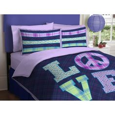 Girl Purple Green Love Peace Sign Twin Comforter Set (2pc Set) Kids Bedding http://smile.amazon.com/dp/B006PKKXF6/ref=cm_sw_r_pi_dp_tg3gub06817XA