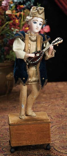 """The Lifelong Collection of Berta Leon Hackney: 359 French Musical Automaton """"The Courtly Troubadour with Guitar"""" by Renou"""