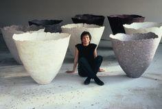 "fiber artist Gjertrud Hals with vessels from the ""Lava"" series Cotton & flax fibers, diam h 80 cm. via the artist's site"