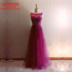Find More Evening Dresses Information about Eleagnt Fuchsia A Line O Neck Beaded…
