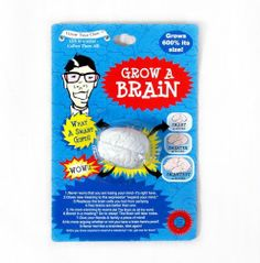 """Grow a Brain Grows 600% Its Size Put in Water Birthday Gag by Grow your Own. $4.49. Put in Water and watch it grow to 600% its size. Grow your own brain is a Little Brain Shape. Grow a Brain Little brain grows to 600% its own size 1-Never worry that you are losing your mind-It's right here 2-Gives new meaning to the expression """"Expand your Mind"""" 3-Replaces the brain cells you lost from partying 4-Two brains are better than one 5-No more cramming for exams (Let th..."""