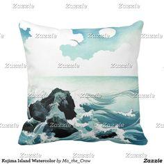 Kojima Island Watercolor Throw Pillow