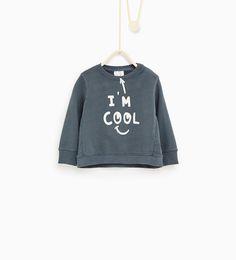 """I'm cool"" sweatshirt-SWEATSHIRTS-Baby boy-Baby   3 months - 3 years-KIDS   ZARA Finland"