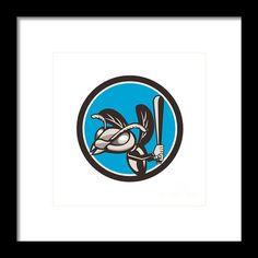Hornet Baseball Player Batting Circle Retro Framed Print By Aloysius Patrimonio. Illustration of a hornet wasp vespa crabro baseball player batting set inside circle on isolated background done in retro style.  #illustration   #HornetBaseball