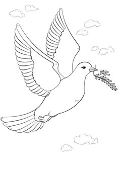 Peace Dove with Olive Branch coloring page from Doves category. Select from 29151 printable crafts of cartoons, nature, animals, Bible and many more. Easy Coloring Pages, Pattern Coloring Pages, Free Printable Coloring Pages, Dove With Olive Branch, Dove And Olive, Dove Pictures, Peace Poster, Bird Crafts, Rock Crafts