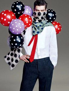 Matthew Bell captured by the lens of Leslie Kee and styled by Declan Chan with pieces from Walter Van Beirendonck, Givenchy, Vivienne Westwood and more, for the current issue of Men's Uno Hong Kong. Leslie Kee, Gucci Presents, Matthew Bell, Walter Van Beirendonck, Retro Floral, Love People, Birthday Parties, Minnie Mouse, Balloons